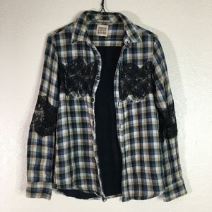 LF Furst of a Kind flannel long sleeve lace shirt